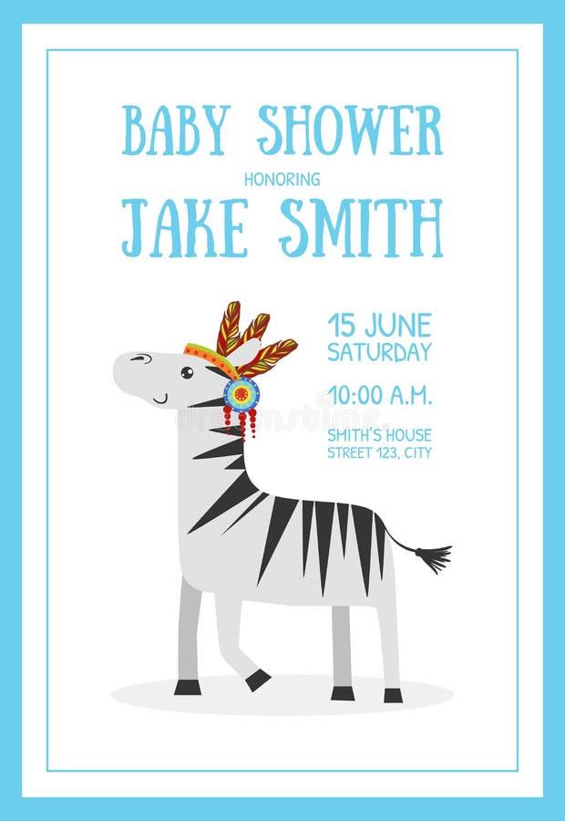 Baby showerbanermall med stället för etnisk djur vektorillustration för text och för gullig lös sebra vektor illustrationer