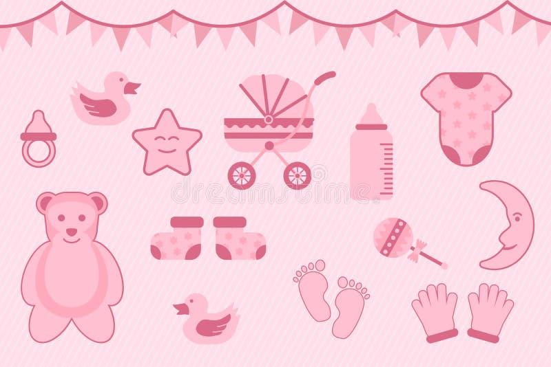Baby showerhälsning med rosa färg med olika objekt - vektorillustration royaltyfri illustrationer