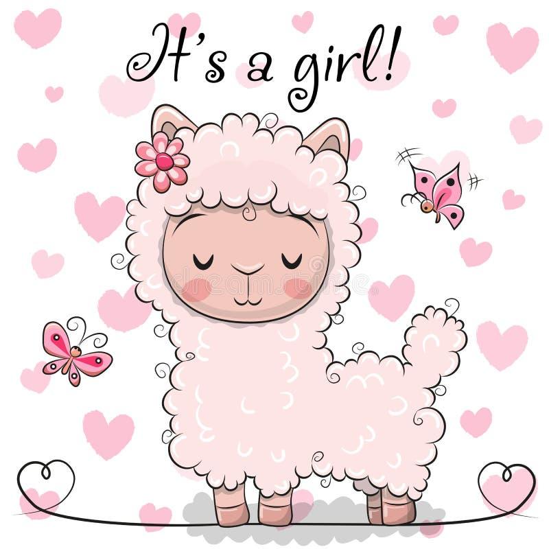 Baby showerhälsningkort med Alpacaflickan stock illustrationer
