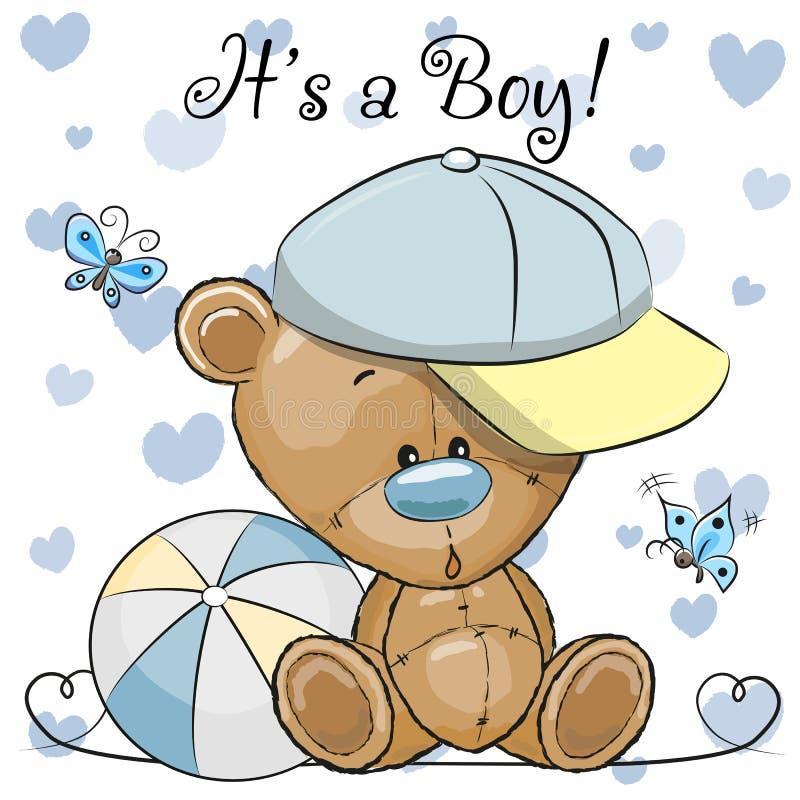 Baby showerhälsningkort med den gulliga Teddy Bear pojken vektor illustrationer