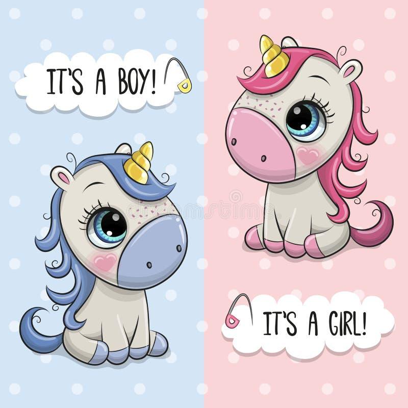 Baby showerhälsningkort med enhörningar pojke och flicka royaltyfri illustrationer