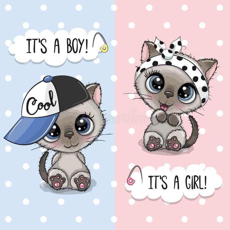 Baby showerhälsningkort med gulliga kattungar royaltyfri illustrationer
