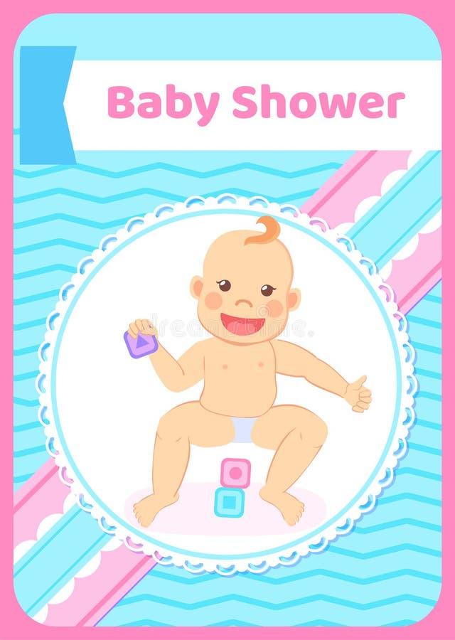 Baby showerhälsningkort, unge som spelar med kvarter stock illustrationer