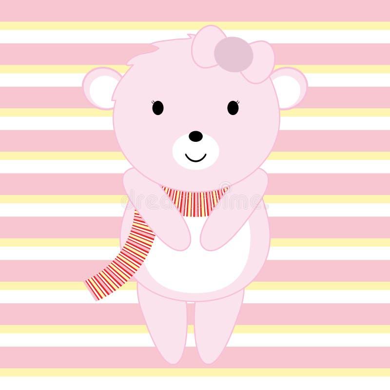 Baby showerillustrationen med gulliga rosa färger behandla som ett barn björnen som är passande för inbjudankort, vykort och barn royaltyfri illustrationer