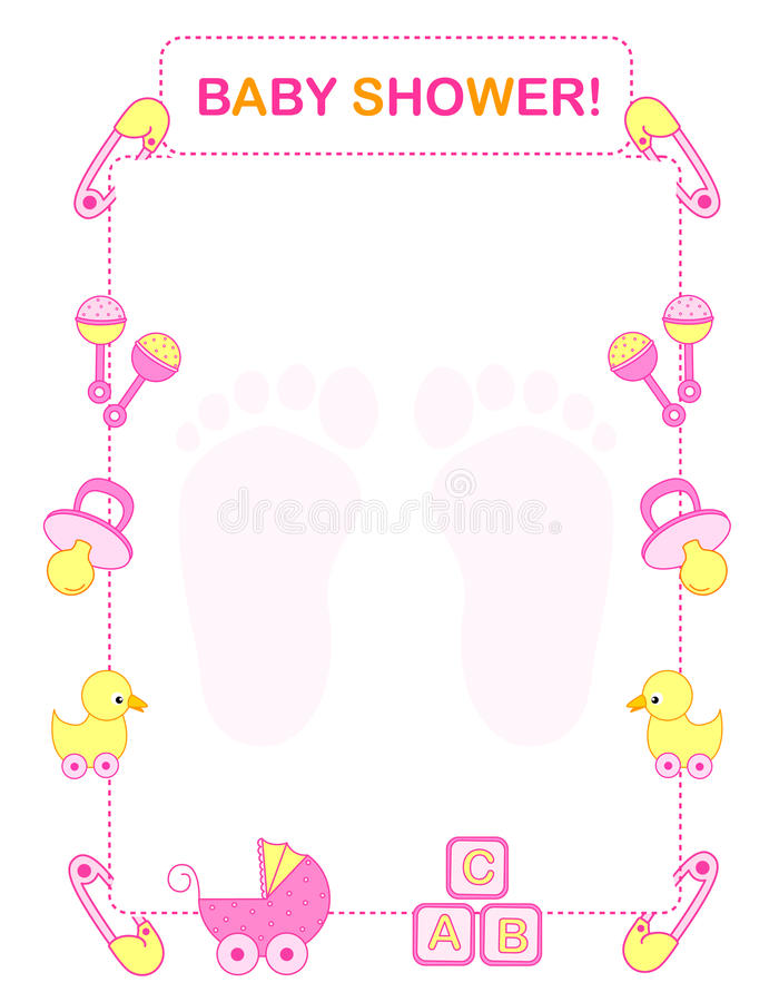 Baby showerinbjudan royaltyfri illustrationer