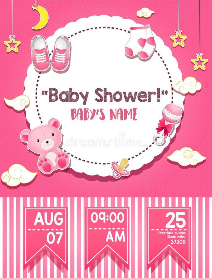 Baby showerinbjudankort stock illustrationer