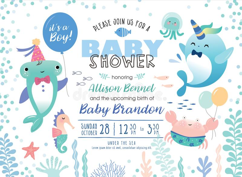 Baby showerinbjudankort vektor illustrationer