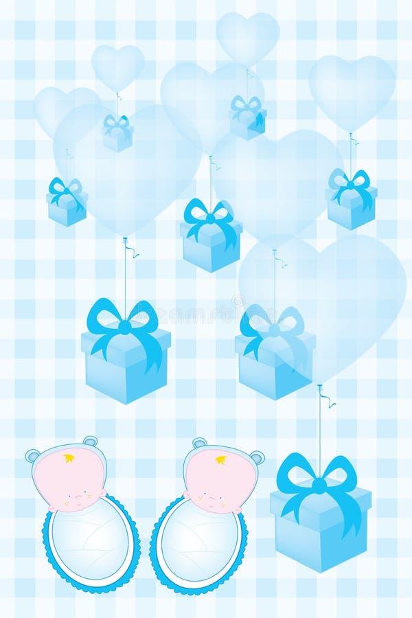 Baby showerinbjudankortet för tvilling- behandla som ett barn pojkar royaltyfri illustrationer