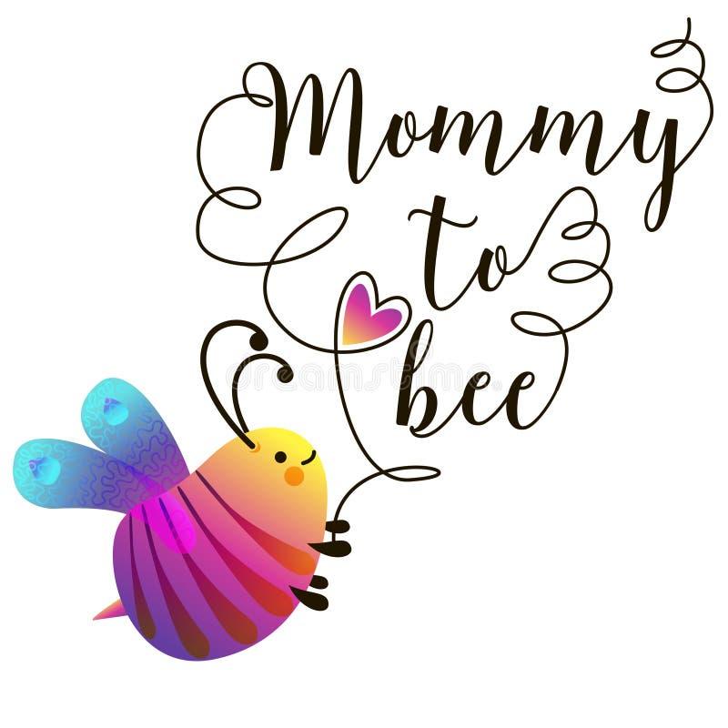 Baby showerinbjudanmall med textmamman till biet Gullig kortdesign med bin också vektor för coreldrawillustration stock illustrationer