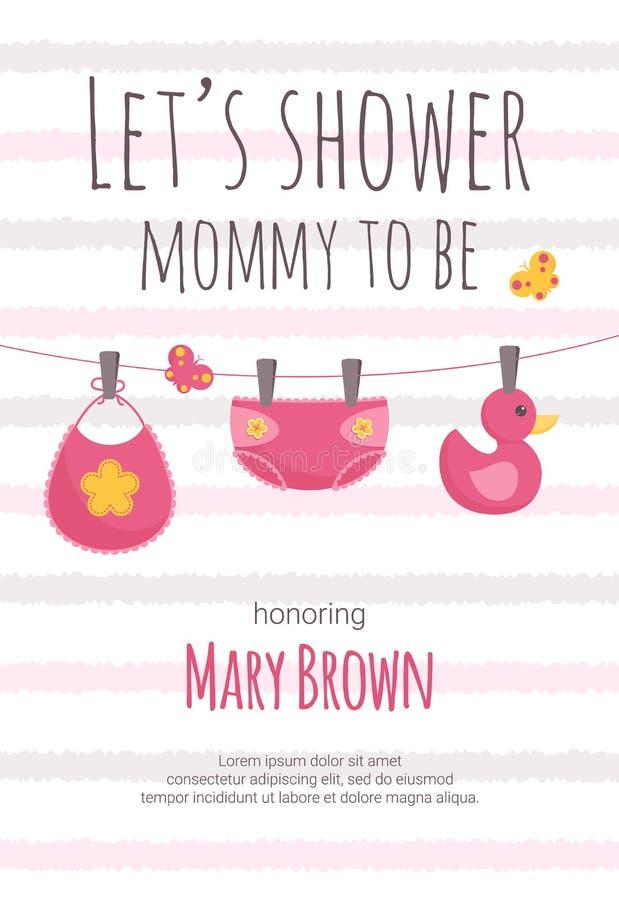 Baby showerinbjudanmallen med rosa och guling behandla som ett barn flickablöjan, haklappen och andleksaken som hänger på ben royaltyfri illustrationer