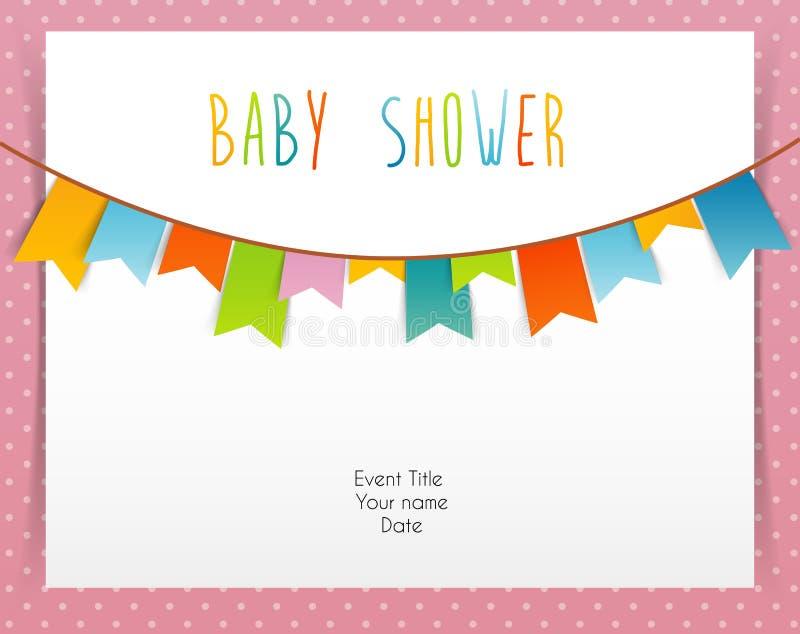 Baby showerkort stock illustrationer