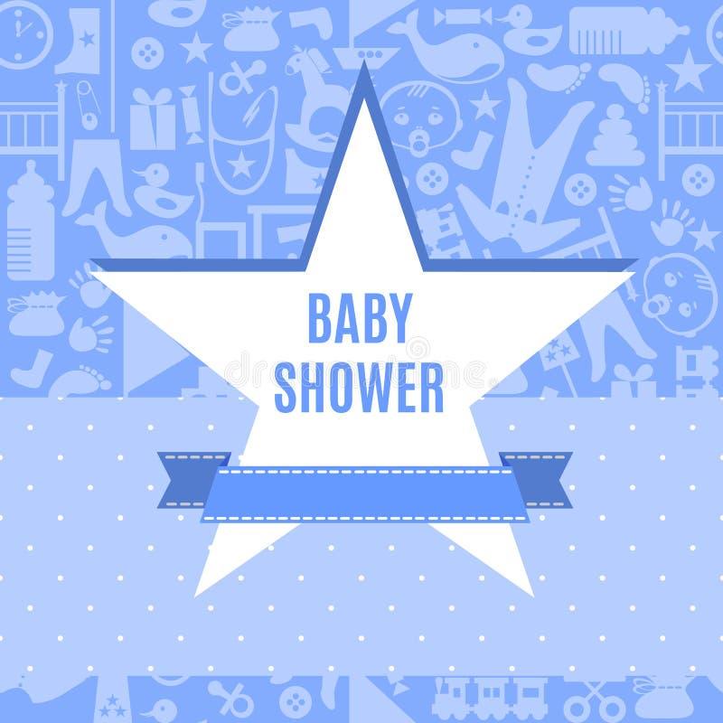 Baby showerkort i blått- och rosa färgfärg royaltyfri illustrationer