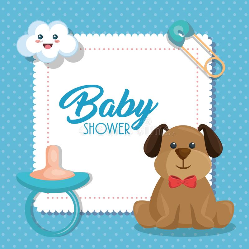 Baby showerkort med den gulliga hunden royaltyfri illustrationer