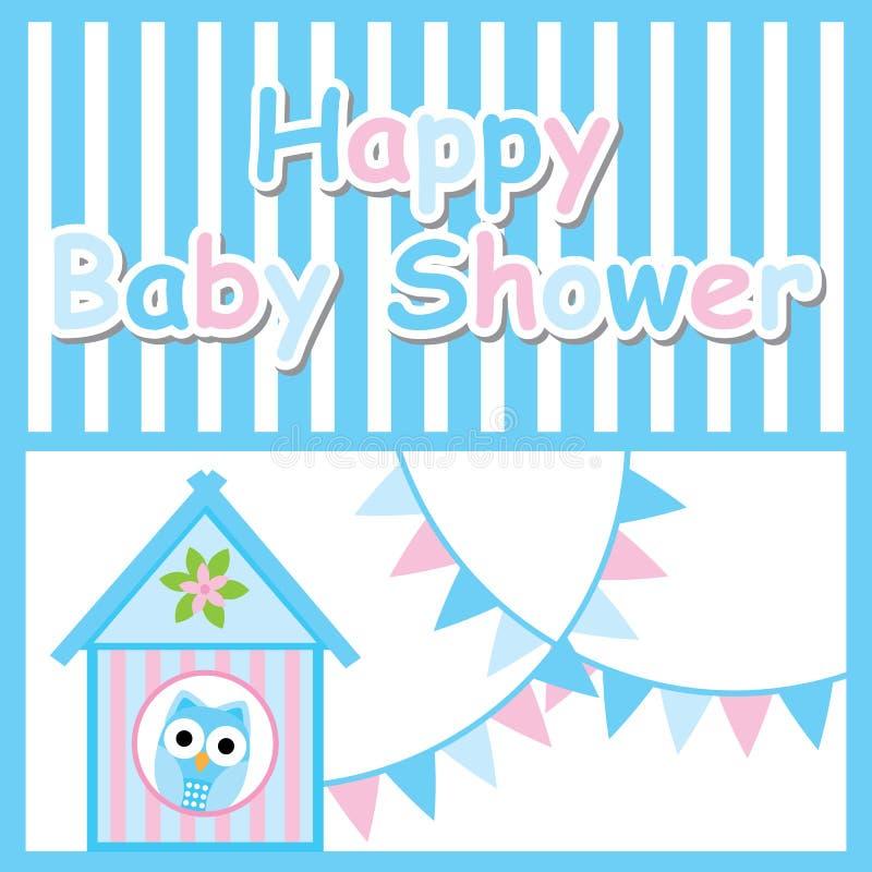 Baby showerkort med den gulliga ugglan, fågelhuset och den färgrika flaggan stock illustrationer