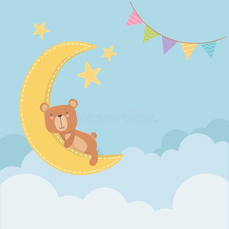 Baby showerkort med den lilla björnen i månen som slepping royaltyfri illustrationer
