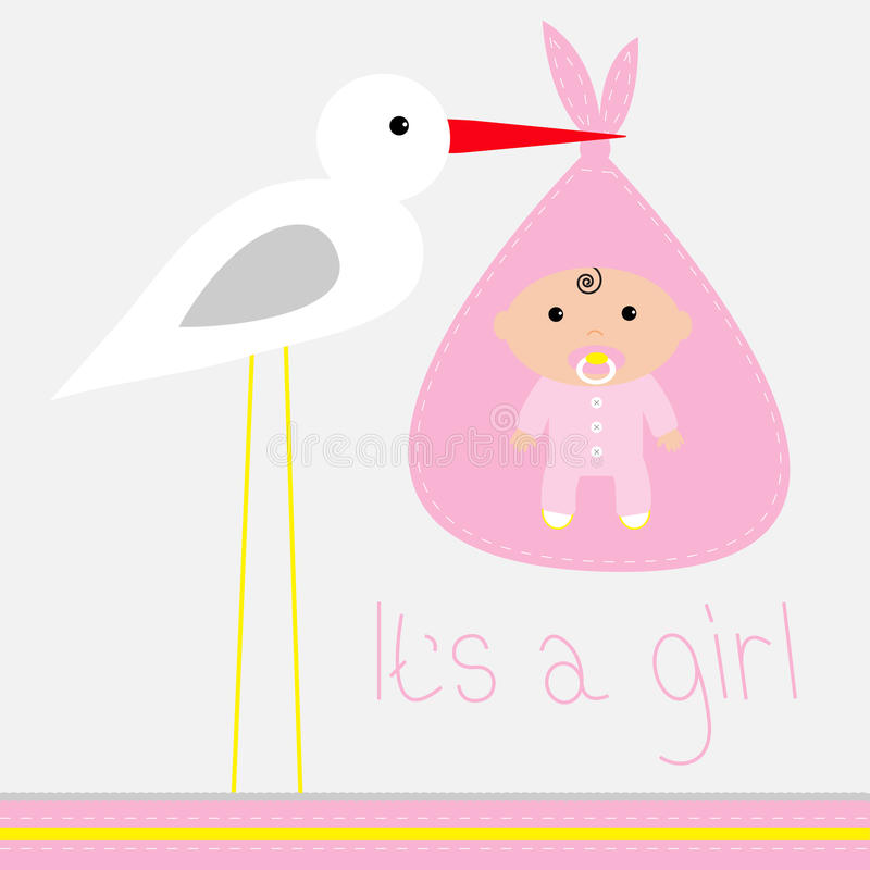 Baby showerkort med storken. Det är en flicka. stock illustrationer