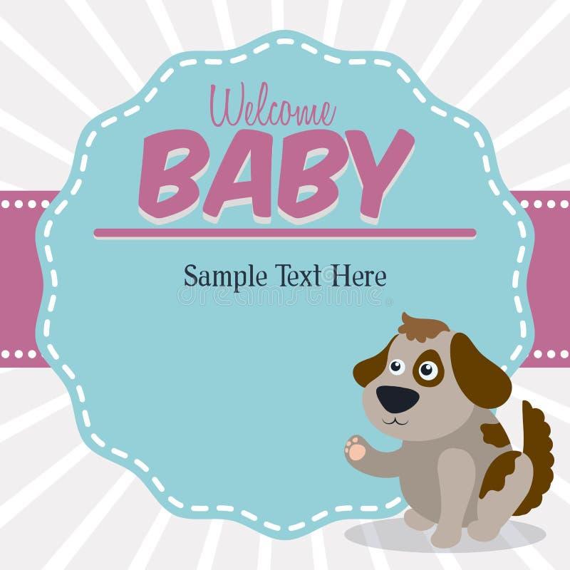 Baby showerkortdesign royaltyfri illustrationer