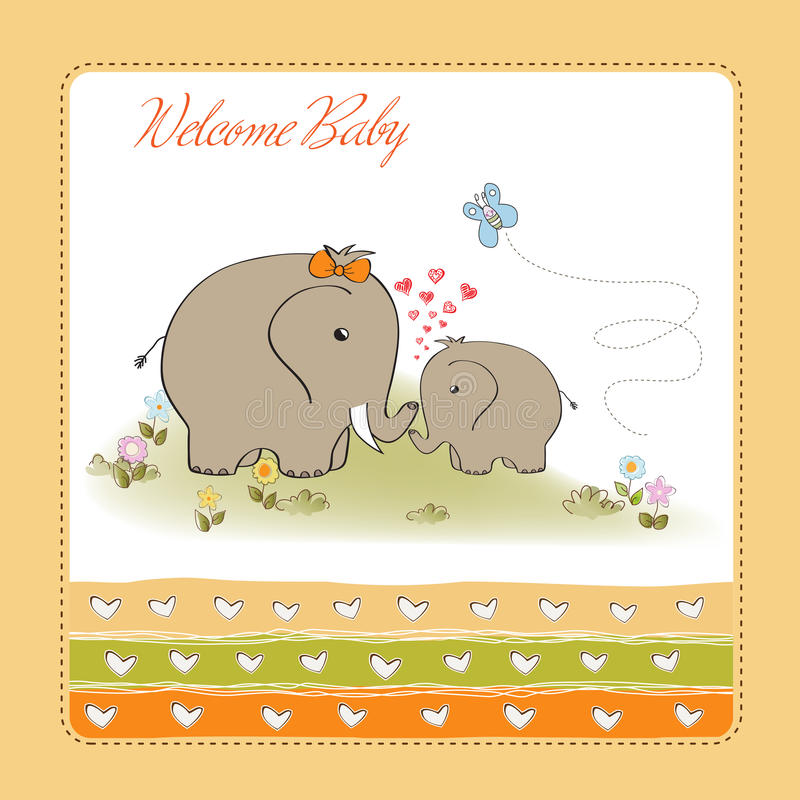 Baby showerkortet med behandla som ett barn elefanten royaltyfri illustrationer