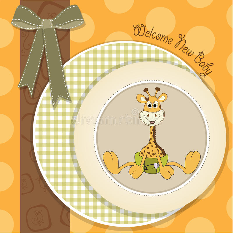 Baby showerkortet med behandla som ett barn giraffet stock illustrationer