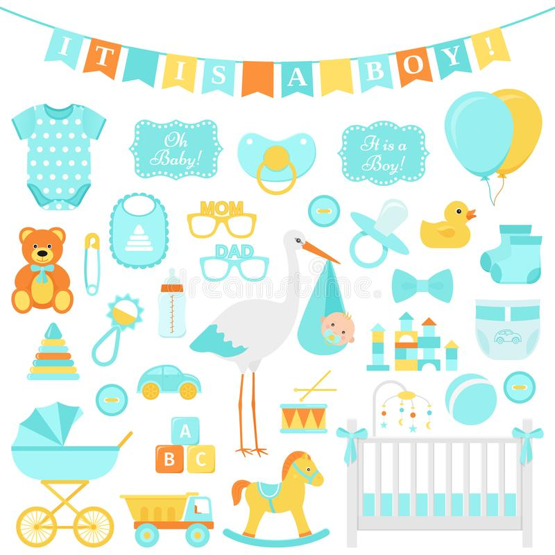 Baby showerpojkeuppsättning också vektor för coreldrawillustration Blåa beståndsdelar för del vektor illustrationer