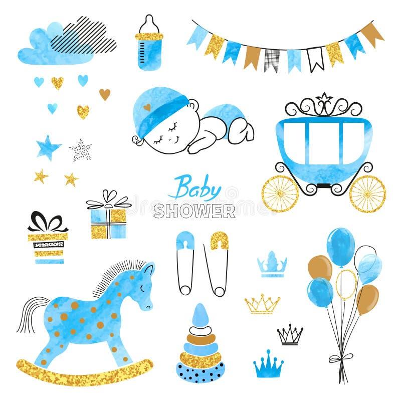 Baby showerpojkeuppsättning Samling av vattenfärgdesignbeståndsdelar stock illustrationer