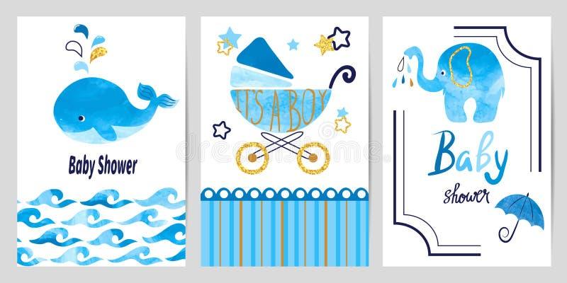 Baby showerpojkeuppsättning Vektorinbjudankort royaltyfri illustrationer