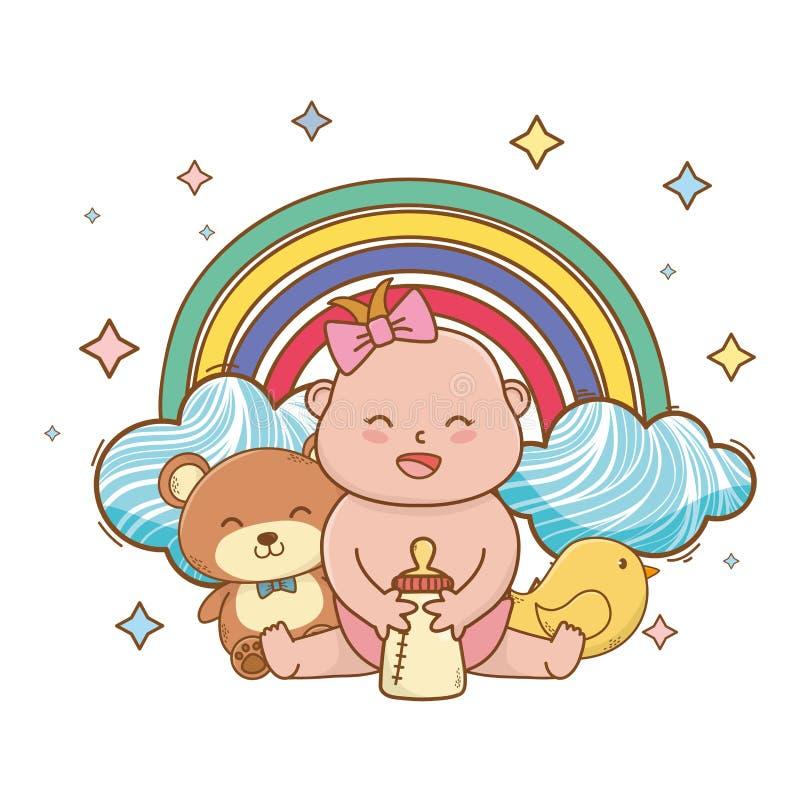 Baby showertecknad filmkort stock illustrationer