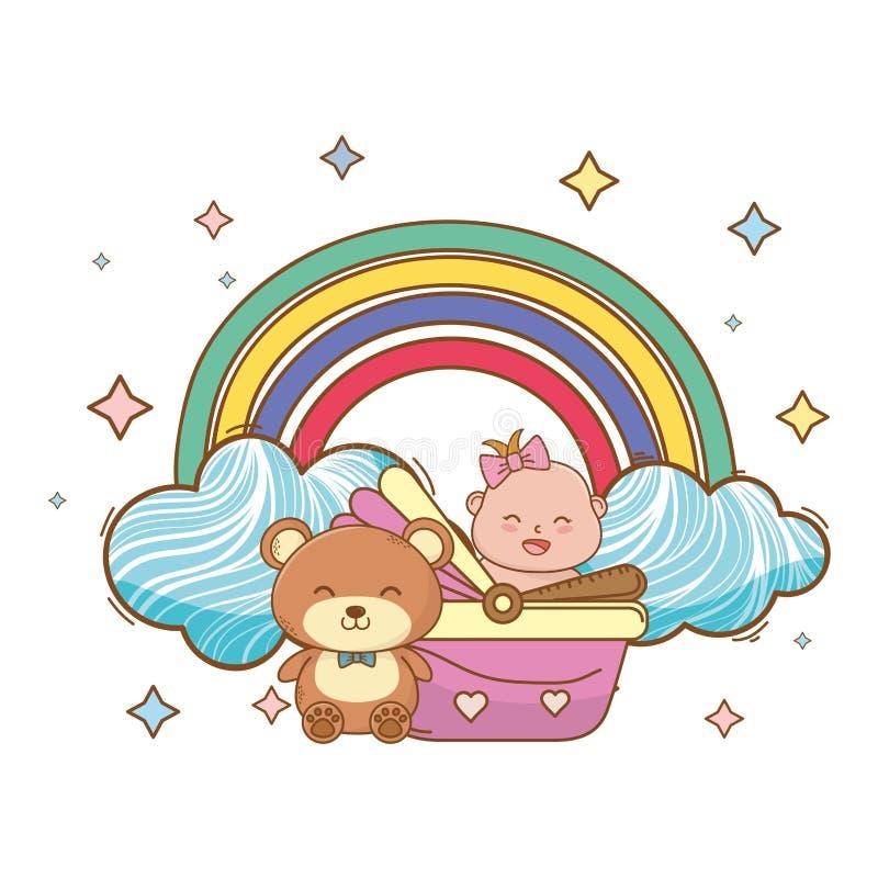 Baby showertecknad filmkort vektor illustrationer