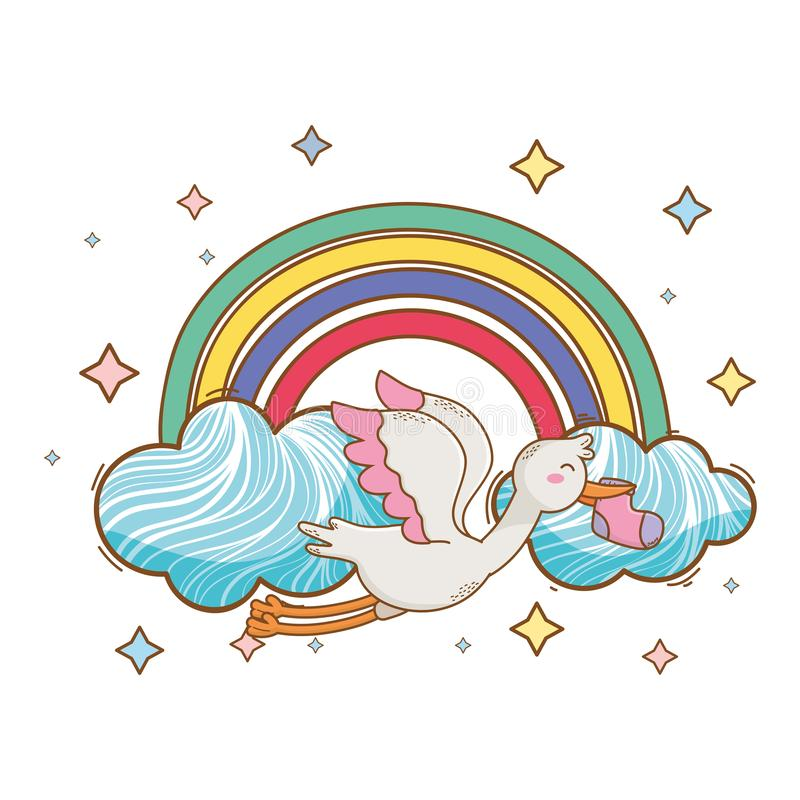 Baby showertecknad filmkort royaltyfri illustrationer