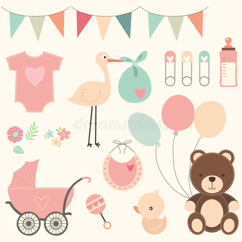 Baby showeruppsättning vektor illustrationer