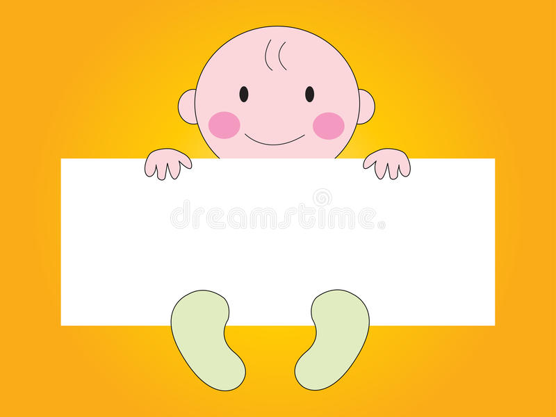 Baby Showing sign. Baby showing empty sign with background vector illustration