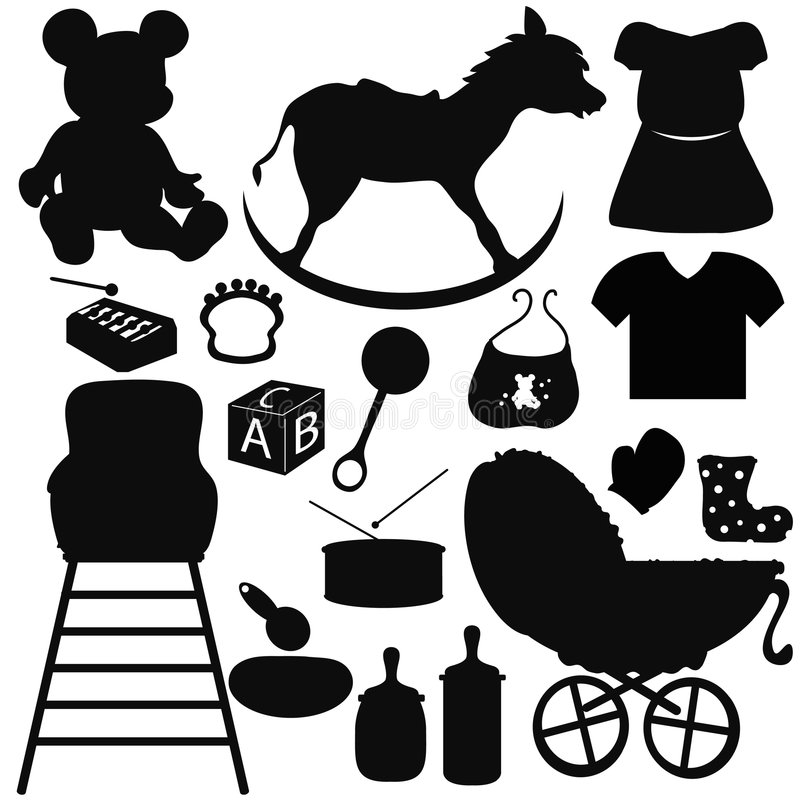Baby Silhouettes Items Stock Photos