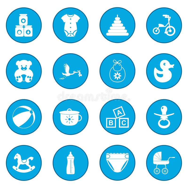 Baby icon blue royalty free illustration