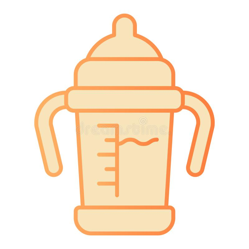 Baby sippy cup flat icon. Baby milk bottle orange icons in trendy flat style. Bottle with toddler gradient style design. Designed for web and app. Eps 10 stock illustration