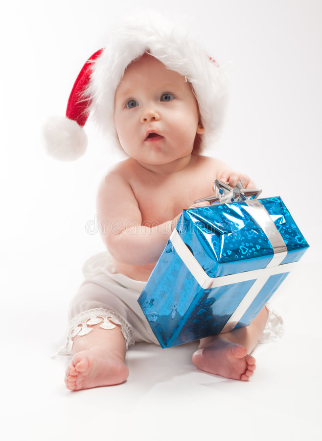 Download Baby Sits With Blue Present Box Stock Image - Image of gift, look: 7132029