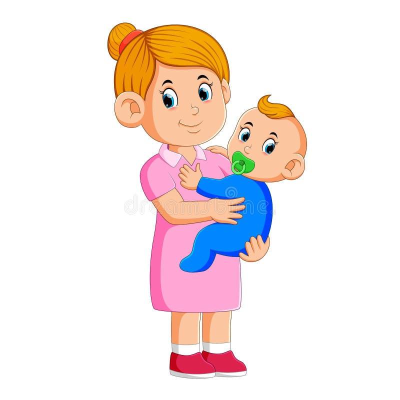 Baby sitter che ciao il bambino illustrazione di stock