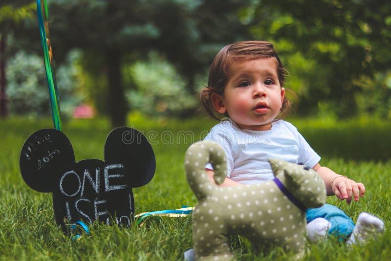 Baby Sitting on Green Grass Field stock photo