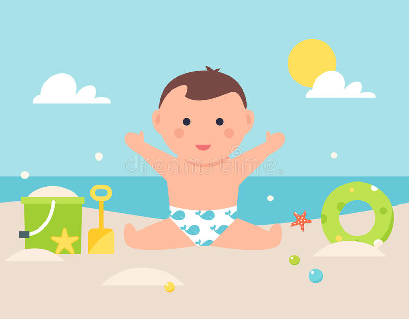 Baby Sitting on Sandy Beach with Toys and Pool Tube royalty free illustration