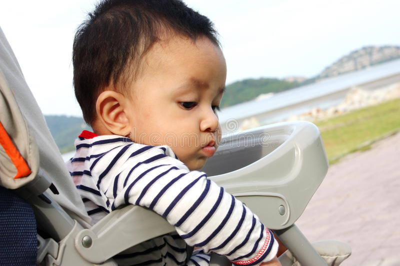 Baby in sitting stroller on nature stock images