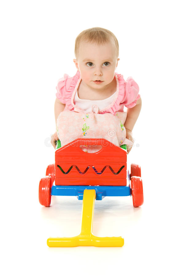 Download Baby sitting on a trolley stock photo. Image of development - 25839614