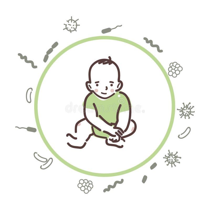 Baby skyddas från bakterier och virus royaltyfri illustrationer
