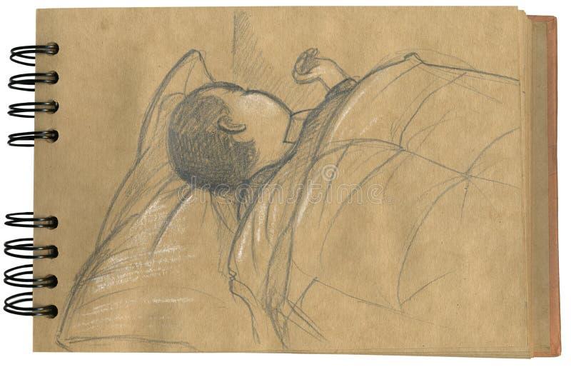 Baby sleeping 2- sketchbook vector illustration