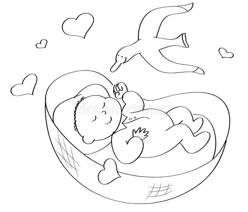 Coloring Baby sleeping stock illustration