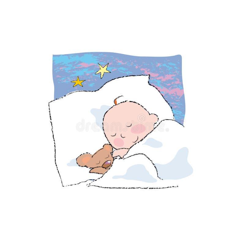 Baby sleeping vector illustration