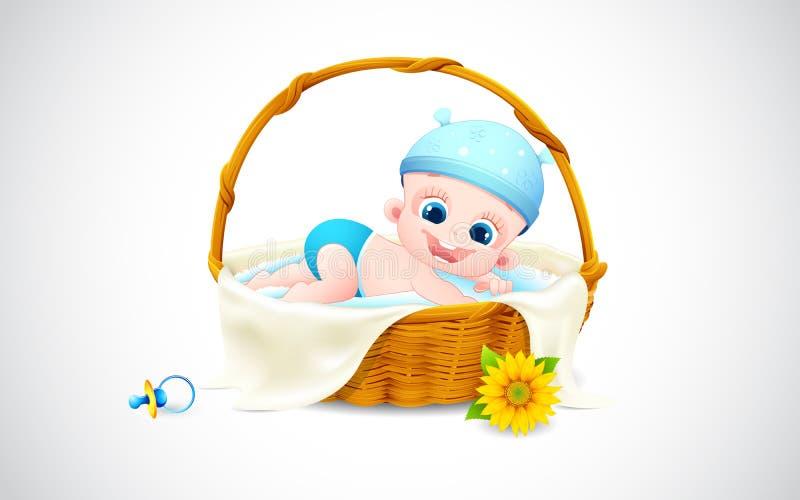 Baby Sleeping In Basket Royalty Free Stock Photos
