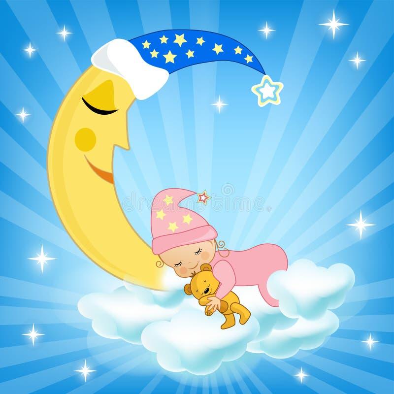 Baby sleeping on the cloud. stock illustration