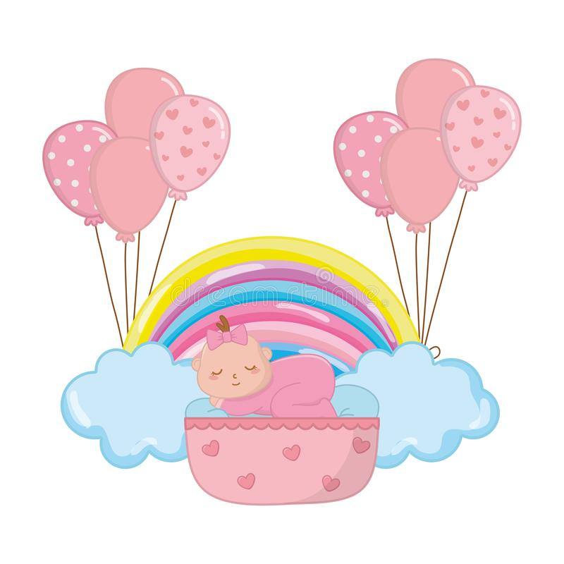 Baby sleeping in a cradle royalty free illustration