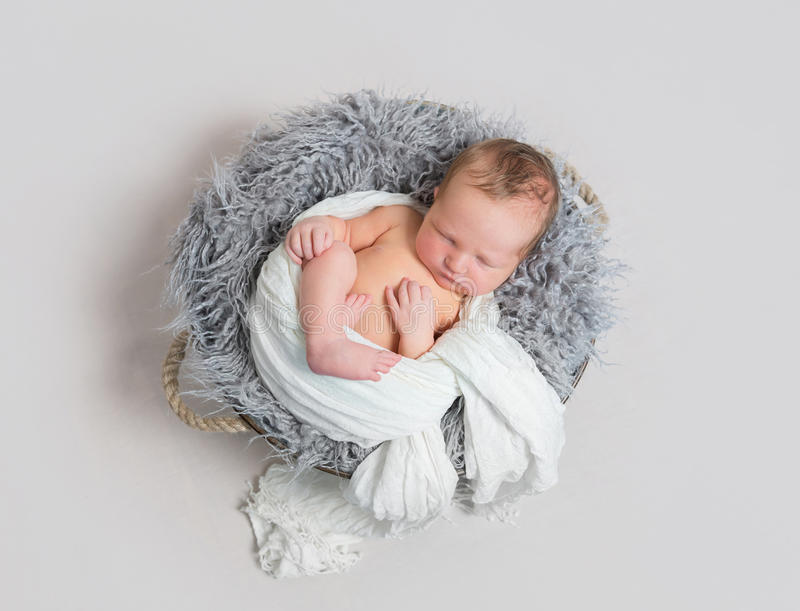 Baby sleeping half wrapped up with white scarf royalty free stock photography