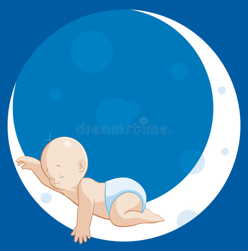 Baby sleeping on moon stock illustration