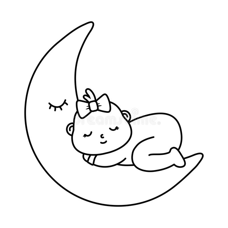 Baby Sleeping On The Moon In Black And White Stock Vector ...